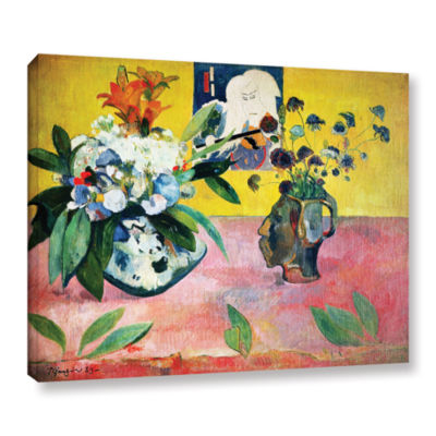 Brushstone Flowers and a Japanese Print Gallery Wrapped Canvas Wall Art