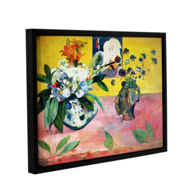 Brushstone Flowers and a Japanese Print Gallery Wrapped Floater-Framed Canvas Wall Art