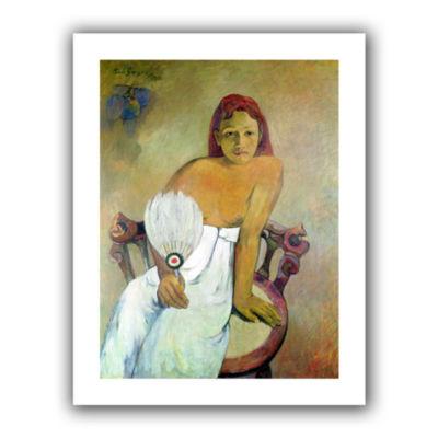Brushstone Girl with Fan Canvas Wall Art