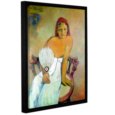 Brushstone Girl with Fan Gallery Wrapped Floater-Framed Canvas Wall Art