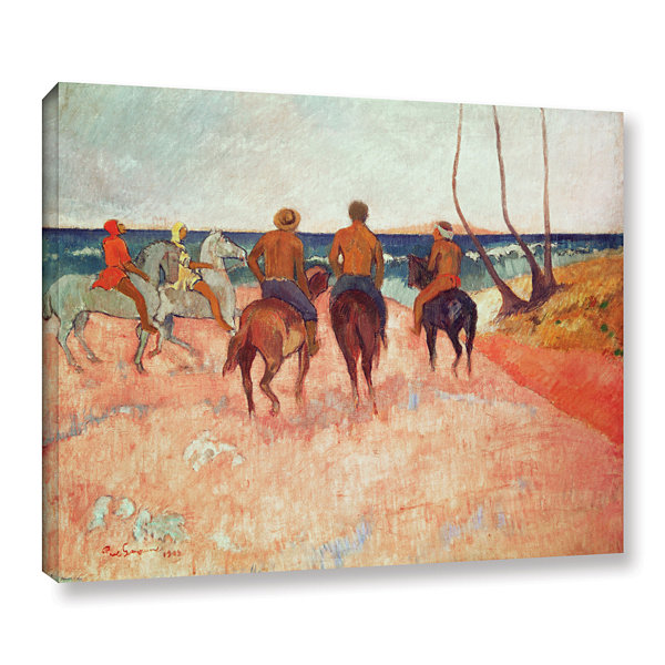 Brushstone Horseman on The Beach Gallery Wrapped Canvas Wall Art