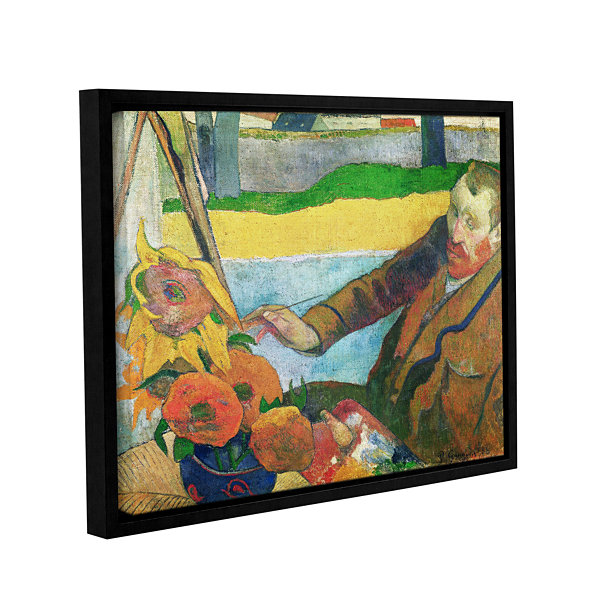 Brushstone Van Gogh Painting Sunflowers Gallery Wrapped Floater-Framed Canvas Wall Art