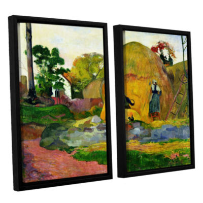 Brushstone Yellow Haystacks 2-pc. Floater Framed Canvas Wall Art