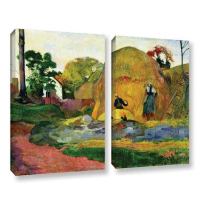 Brushstone Yellow Haystacks 2-pc. Gallery WrappedCanvas Wall Art
