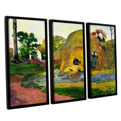 Brushstone Yellow Haystacks 3-pc. Floater Framed Canvas Wall Art