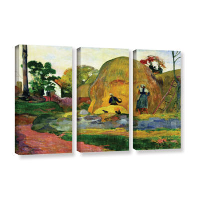 Brushstone Yellow Haystacks 3-pc. Gallery WrappedCanvas Wall Art
