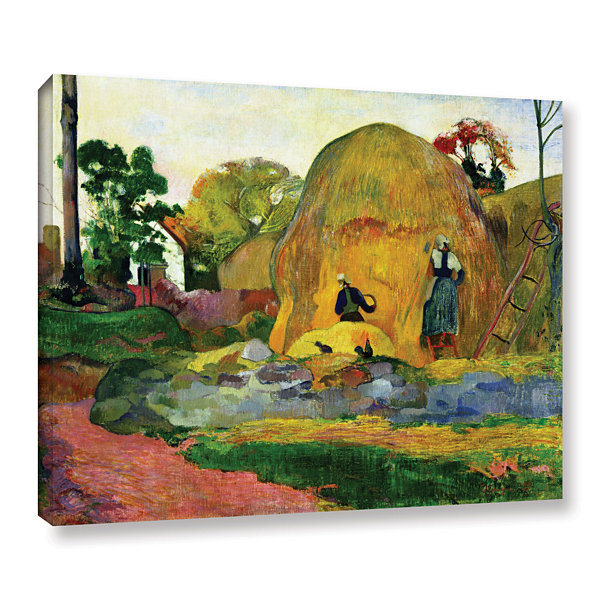 Brushstone Yellow Haystacks Gallery Wrapped CanvasWall Art