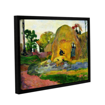 Brushstone Yellow Haystacks Gallery Wrapped Floater-Framed Canvas Wall Art