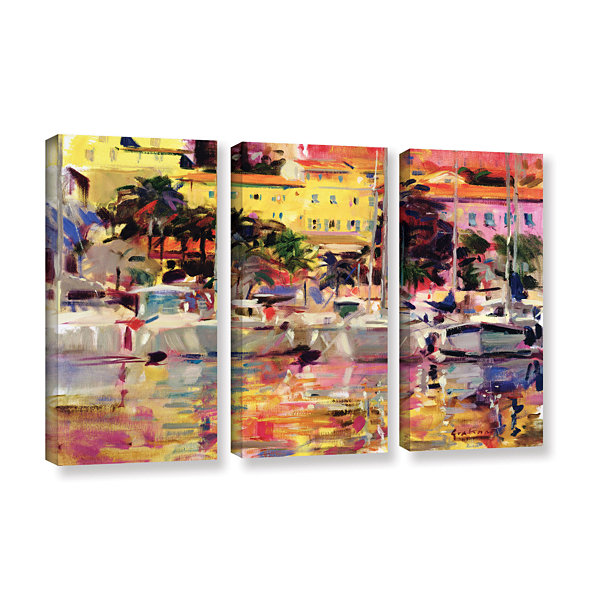 Brushstone Golden Harbor Vista 3-pc. Gallery Wrapped Canvas Wall Art