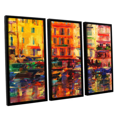 Brushstone Grand Harbour  Cannes 3-pc. Floater Framed Canvas Wall Art