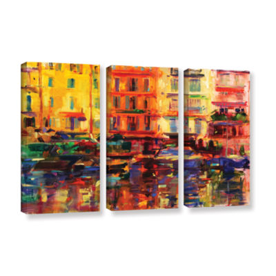 Brushstone Grand Harbour  Cannes 3-pc. Gallery Wrapped Canvas Wall Art
