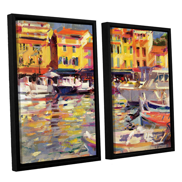 Brushstone Harbour at Cassis 2-pc. Floater FramedCanvas Wall Art