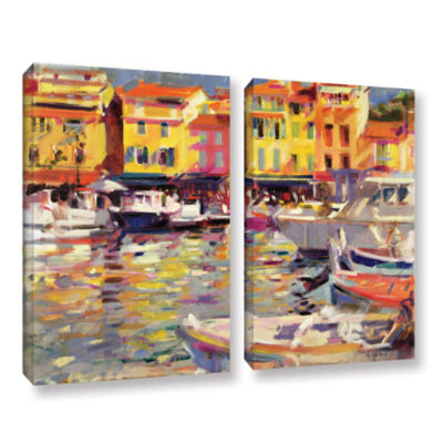 Brushstone Harbour at Cassis 2-pc. Gallery WrappedCanvas Wall Art
