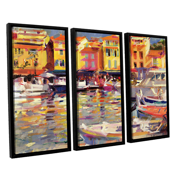 Brushstone Harbour at Cassis 3-pc. Floater FramedCanvas Wall Art