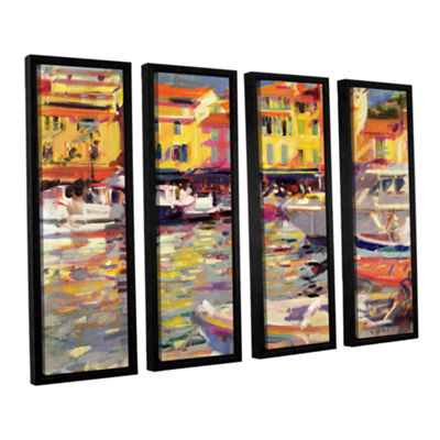 Brushstone Harbour at Cassis 4-pc. Floater FramedCanvas Wall Art
