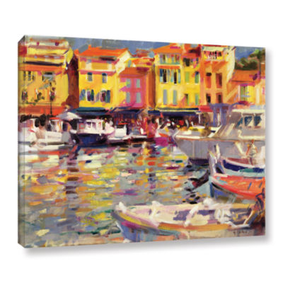 Brushstone Harbour at Cassis Gallery Wrapped Canvas Wall Art