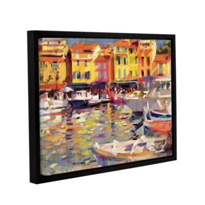 Brushstone Harbour at Cassis Gallery Wrapped Floater-Framed Canvas Wall Art