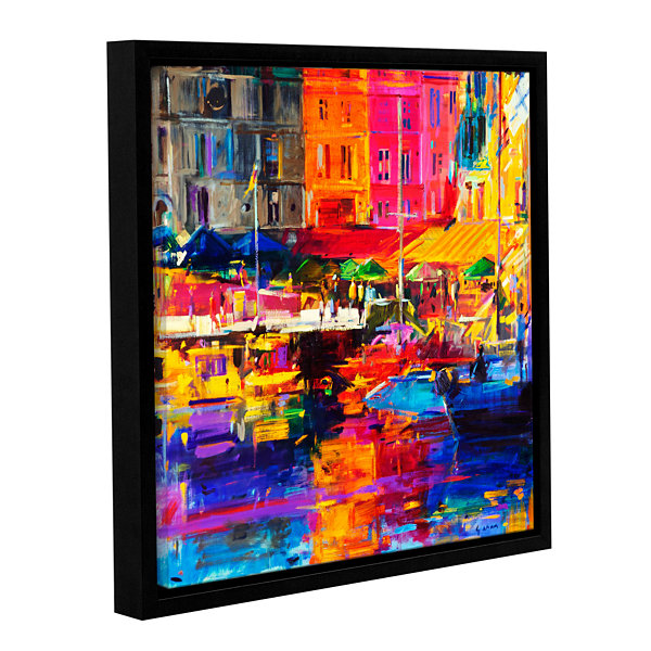 Brushstone Honfleur Harbour  2011 Gallery WrappedFloater-Framed Canvas Wall Art