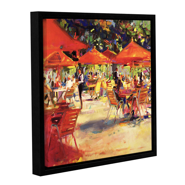 Brushstone Le café du Jardin Gallery Wrapped Floater-Framed Canvas Wall Art
