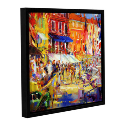 Brushstone Port Promenade  Saint-Tropez Gallery Wrapped Floater-Framed Canvas Wall Art