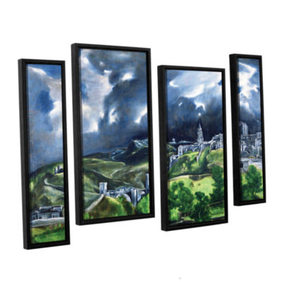 Brushstone View of Toledo II 4-pc. Floater FramedStaggered Canvas Wall Art