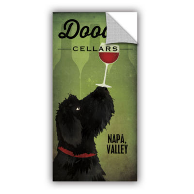 Brushstone Doodle Wine II Black Dog Removable Wall Decal