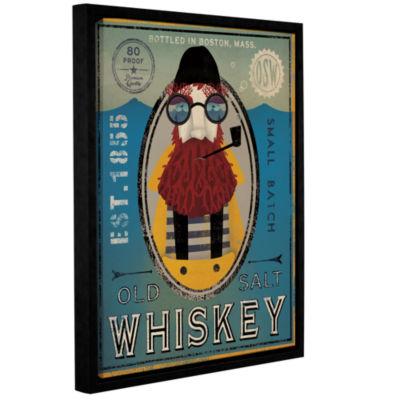 Brushstone Fisherman IV Old Salt Whiskey Gallery Wrapped Floater-Framed Canvas Wall Art