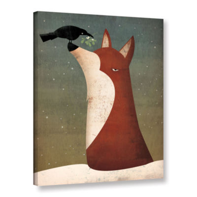 Brushstone Fox and Mistletoe Gallery Wrapped Canvas Wall Art