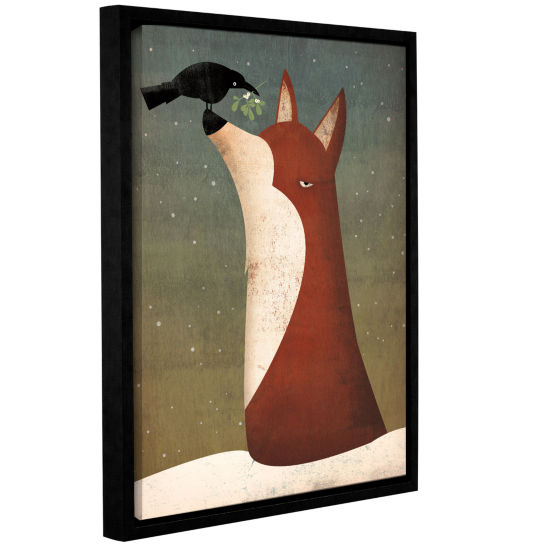 Brushstone Fox and Mistletoe Gallery Wrapped Floater-Framed Canvas Wall Art
