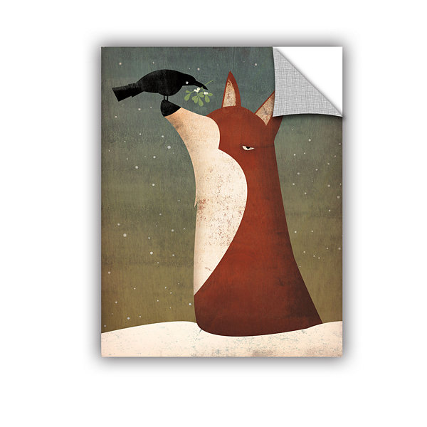 Brushstone Fox and Mistletoe Removable Wall Decal