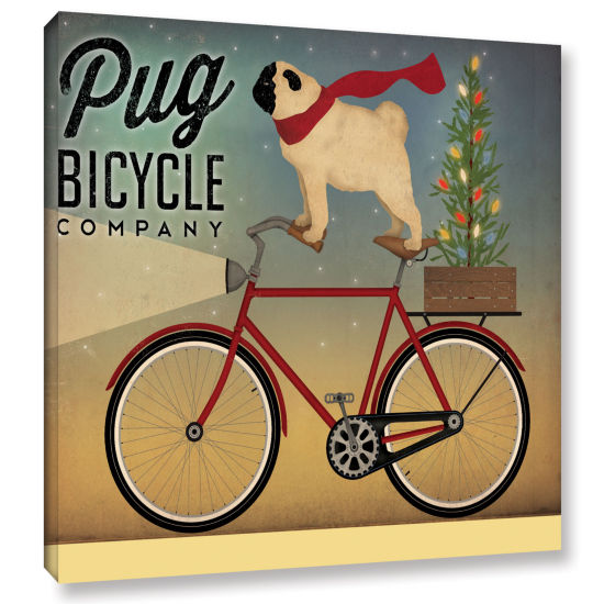 Brushstone Pug on a Bike Christmas Gallery WrappedCanvas Wall Art