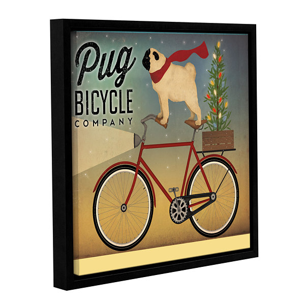 Brushstone Pug on a Bike Christmas Gallery WrappedFloater-Framed Canvas Wall Art