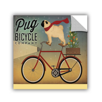 Brushstone Pug on a Bike Christmas Removable WallDecal