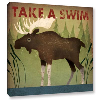 Brushstone Take A Swim Moose Gallery Wrapped Canvas Wall Art