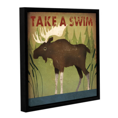 Brushstone Take A Swim Moose Gallery Wrapped Floater-Framed Canvas Wall Art