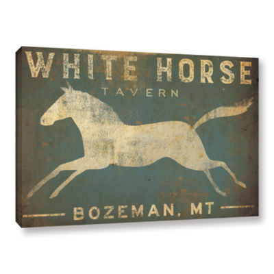 Brushstone White Horse Running Gallery Wrapped Canvas Wall Art