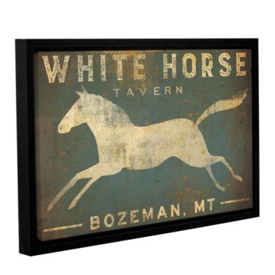 Brushstone White Horse Running Gallery Wrapped Floater-Framed Canvas Wall Art