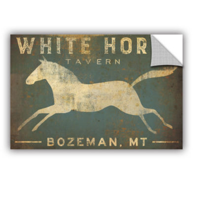 Brushstone White Horse Running Removable Wall Decal