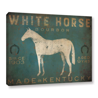 Brushstone White Horse with Words Blue Gallery Wrapped Canvas Wall Art