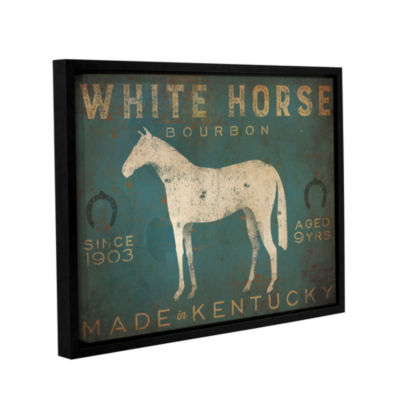 Brushstone White Horse with Words Blue Gallery Wrapped Floater-Framed Canvas Wall Art