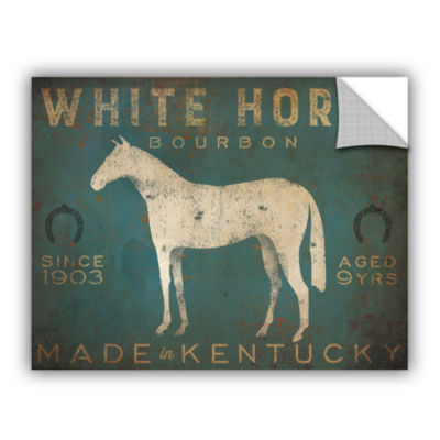 Brushstone White Horse with Words Blue Removable Wall Decal