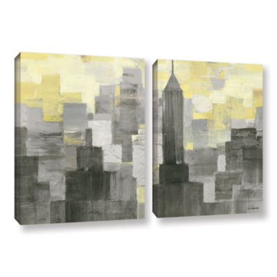 Brushstone City Blocks Neutral 2-pc. Gallery Wrapped Canvas Wall Art