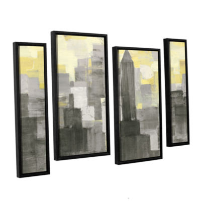 Brushstone City Blocks Neutral 4-pc. Floater Framed Staggered Canvas Wall Art