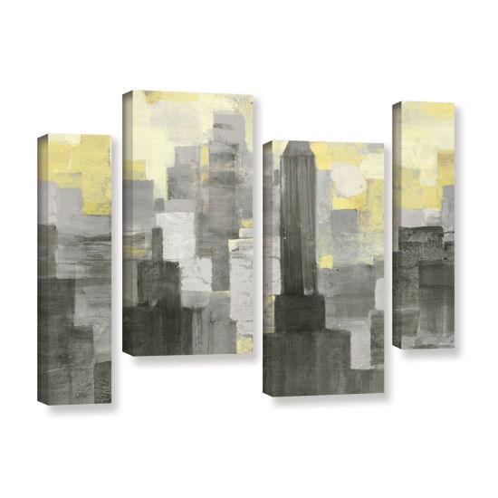 Brushstone City Blocks Neutral 4-pc. Gallery Wrapped Staggered Canvas Wall Art