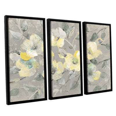 Brushstone Fading Spring Gray 3-pc. Floater FramedCanvas Wall Art
