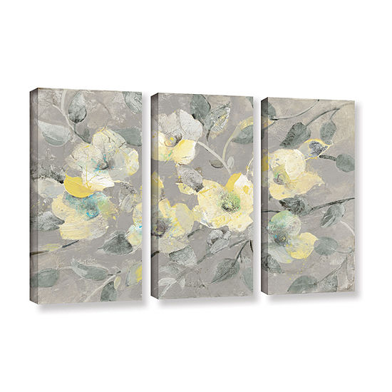 Brushstone Fading Spring Gray 3-pc. Gallery Wrapped Canvas Wall Art