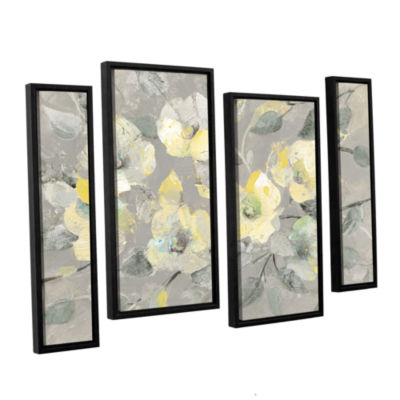 Brushstone Fading Spring Gray 4-pc. Floater Framed Staggered Canvas Wall Art