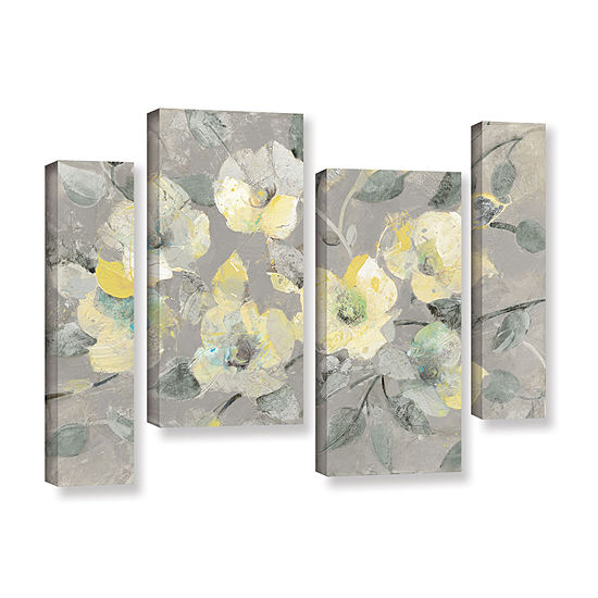 Brushstone Fading Spring Gray 4 Pc Gallery Wrapped Staggered Canvas Wall Art