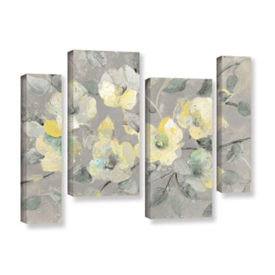 Brushstone Fading Spring Gray 4-pc. Gallery Wrapped Staggered Canvas Wall Art