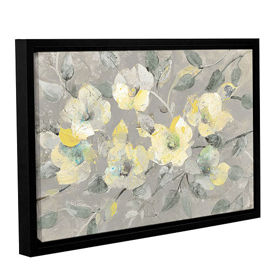 Brushstone Fading Spring Gray Gallery Wrapped Floater-Framed Canvas Wall Art